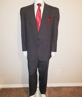 Austin Reed London England 46 L Men's 2 Piece 2 Button Suit Dark Gray Plaid Wool