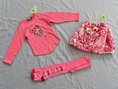 NWT OILILY TEA COOKIES PINK TOP & SKIRT SET Plus Preloved TIGHTS 2 years 86 -92