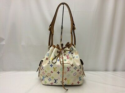 Auth Louis Vuitton Monogram Multi color White Petit Noe Shoulder bag 9A090040g""
