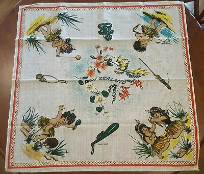 Vintage Barkcloth Tablecloth Maori Children Native Flowers NZ Unused Condition