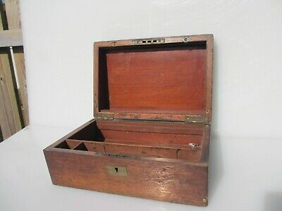 Vintage Wooden Box Brass Hinges Antique Storage Old Wood Pine Jewellery Art Tub