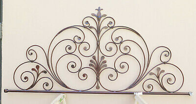 Bed Header for Double Bed Wrought Iron Headboard a Tail Peacock Vintage 10