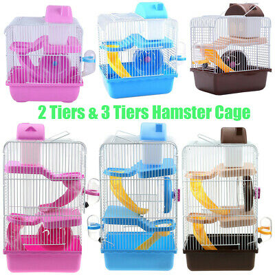 2/3 Tier Hamster Cage Small Pet House Minin Animal Dwarf Hamster Cages Run Slide