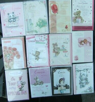 12 Greeting Cards Quality Mixed Female Birthday Cards Joblot Wholesale