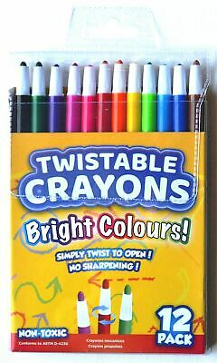 12 x Colouring Twistable Bright Colour Crayons Pencils Set Drawing Artist Kids