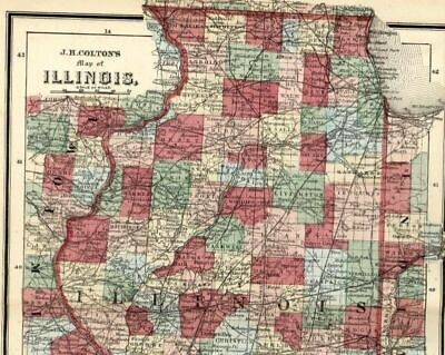 Illinois state Chicago Springfield Peoria 1865 scarce Colton small antique map