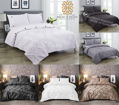 Pintuck Pinch Pleated Duvet Cover Bedding Set Single Double King With Pillowcase
