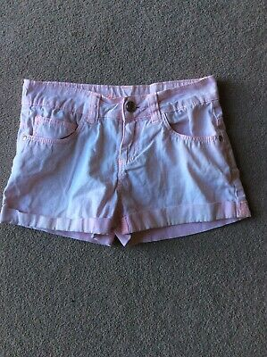 Girls Age 8-9 Pale Pink Denim Hot Pants By Primark