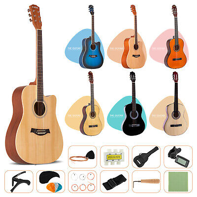 "38"" 41"" Acoustic Guitar Beginner Wooden Classical Folk w/Bag Strap String Pick"