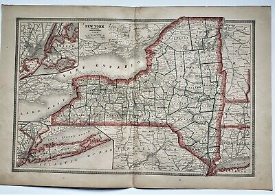 Original 1883 Color  Map Of New York State From Crams  Atlas Of The World