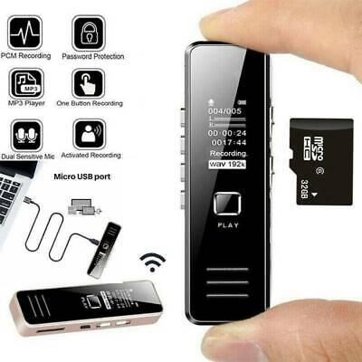 USB Digital Voice Recorder Small Activated Handheld Audio MP3 Player + 32GB Card