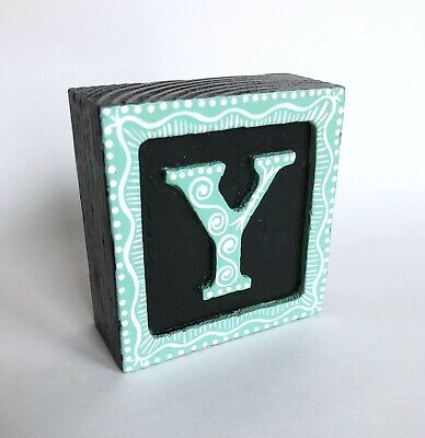 """Wood initial """"Y"""" Alphabet Letter Wooden Block Hand Painted Gift Mint Green"""