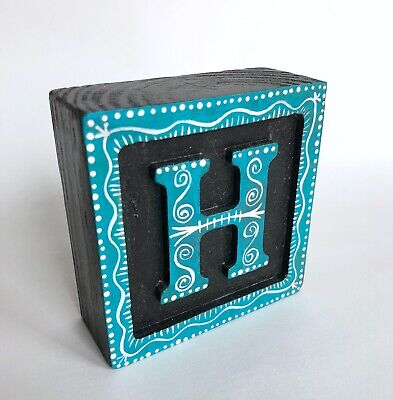 """Wood initial """"H"""" Alphabet Letter Wooden Block Hand Painted Gift Teal Color"""