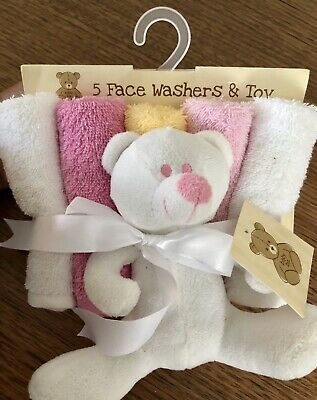 Baby Face Washer Set Of 5 And Toy