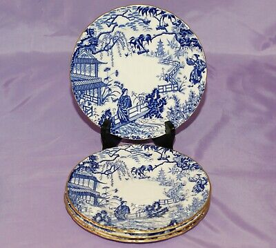 "Four [4] Royal Crown Derby BLUE MIKADO 7 1/4"" Inch Bread Dessert Salad Plates"