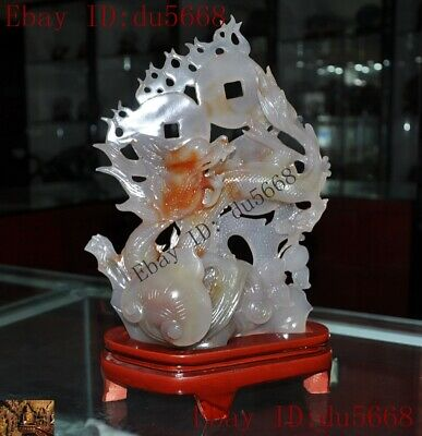 """13""""Chinese Natural Agate Onyx Hand-carved lucky wealth coin Animal dragon statue"""