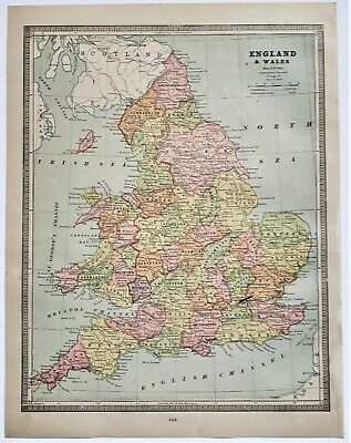 Original 1883 Color  Map Of England And Wales From Crams  Atlas Of The World