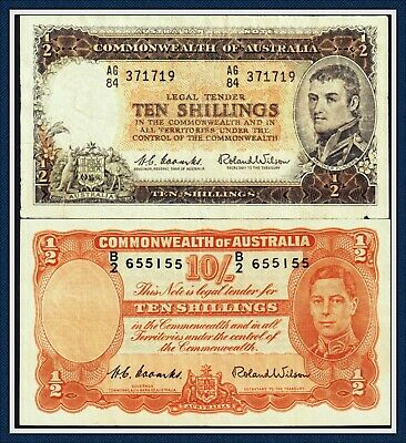 Pair of 10 Shilling Banknotes Both Coombs/Wilson R-15 and R-17