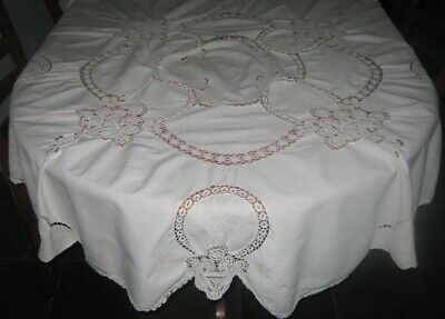 Vintage Cotton Tablecloth With Crocheted Lace Inserts ~ Cream ~ Round