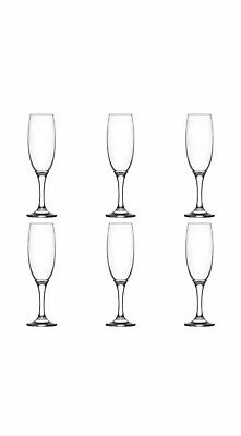 Lav Champagne Flute Glasses Set, Pack of 6 Long Steam Prosecco Glass 220 cc / ml