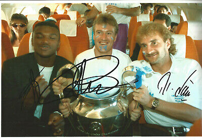 Didier Deschamps Marcel Desailly Rudi Voller 12 x 8 signed football photo SS930