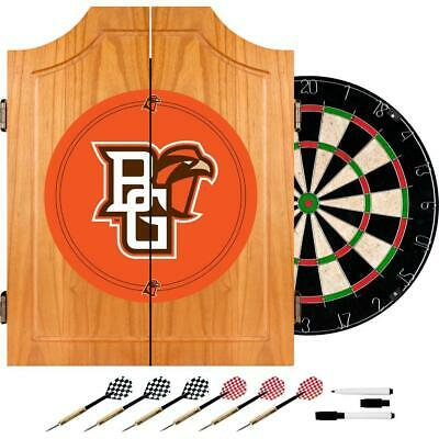Wood Dart Cabinet Set Dartboard Darts Game Room Bowling Green Indoor 20.5 inch