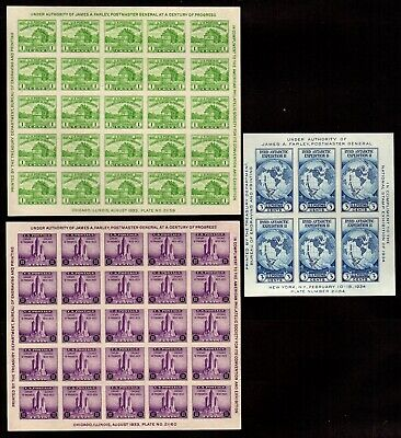 US Stamps: 730, 731, 735 Farley Souvenir Sheets, Mint, NGAI, NHMKS Free Shipping
