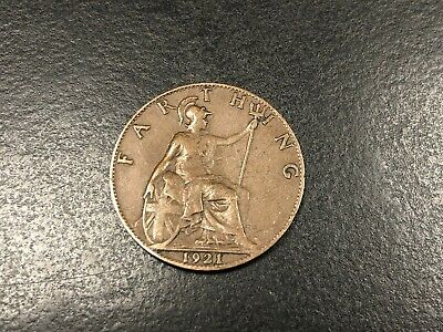 GB England Great Britian GEORGE V BRONZE FARTHING 1921 Good Circulated Condition