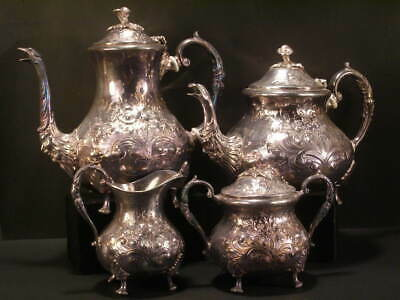 Antique Turton Embossed Chased Silver Rococo Tea Set Coffee Pot Service Pitcher~
