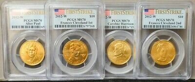 2012-W $10 First Spouse Gold 4 Pc Full Year Set MS70 First Strike PCGS