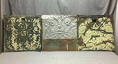 "Lot of 3 Antique Tin Metal Ceiling 24""x24"" Crafts Art Projects Vtg 274-20B"