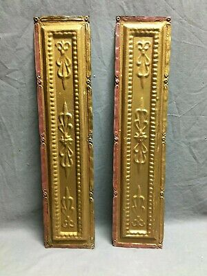 "Lot of 2 Antique Gold Tin Metal Ceiling 5""x24"" Crafts Art Projects Vtg 276-20B"