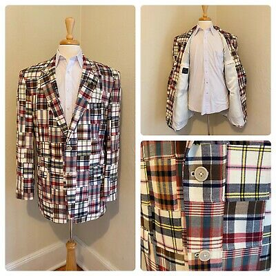 Jos A Bank Madras Plaid Patchwork Cotton 2 Button Sport Coat Jacket Blazer 46L