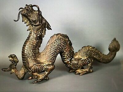 Antique Chinese XIX BRONZE DRAGON 47cm long, 25 H