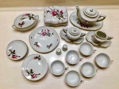 Vintage Moss Rose 28PC Porcelain Tea Set - Pot/Creamer/Sugar, Plates, Cups, S&P