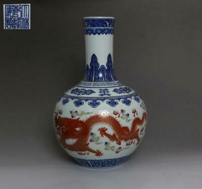 Chinese Old Blue And White Porcelain Dragons Vase With Qianlong Mark 36Cm (512)