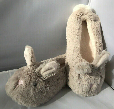 Girls The White Company Soft Fluffy Bunny Rabbit Slippers Size 10/11 NEW!