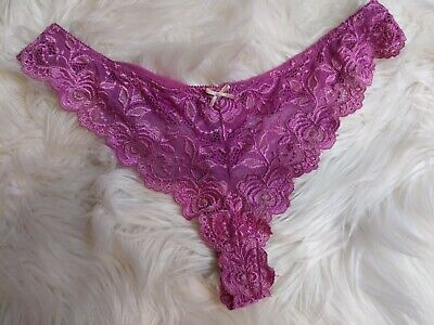 Vintage Purple Nylon Stretchy Sheer Lace Hi Cut Panty Panties Large