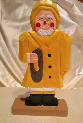 Wooden Carved, Hand painted, Fisherman Figurine, Sailor, Nautical Beach decor