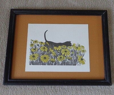 Vintage Harriet Gallant Pen Ink Black Cat Walking Thru Daisies ~ FREE SHIPPING