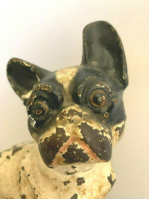 Antique Hubley 304 Cast Iron French Bulldog Frenchie doorstop orig paint RARE