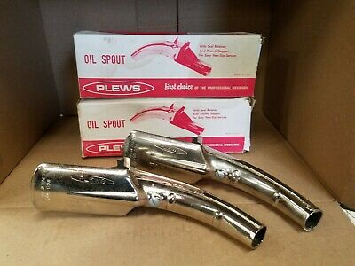 2 Motor Oil Can Lube Pour Spout PLEWS #60-004 Self Piercing. NOS