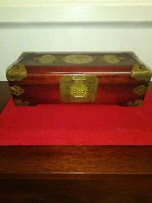 "Vintage Chinese Jewelry Box Dark Wood & Brass Carved Jade Inlay 10"" x 4"" x 3"""