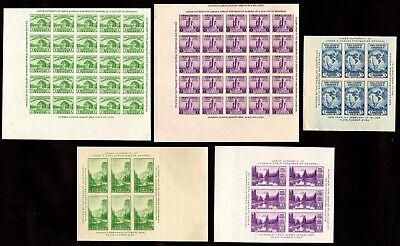US Stamps 766, 767, 768, 769, 770 Souvenir Sheets Farley Special Printings. MNH