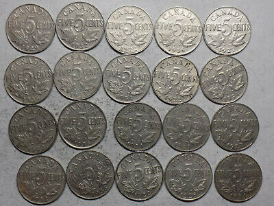 20 Canada King George V  Nickel 5 Cent Circulated Coins (L84)