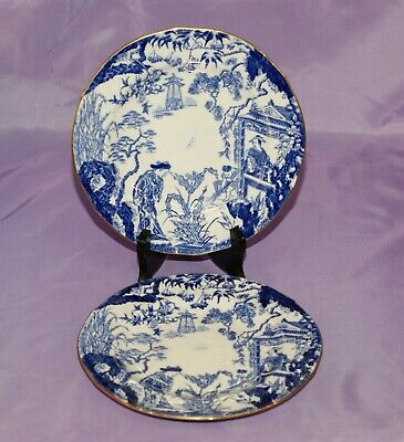 "1930 Royal Crown Derby BLUE MIKADO 8 1/4"" Inch Bread Side Dessert Salad Plates"