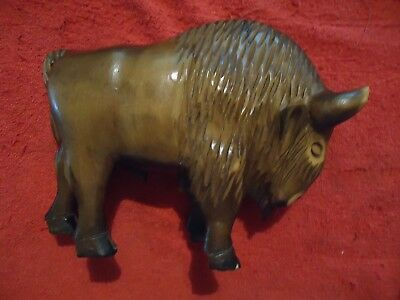 Vintage American Bison hand carved wooden Buffalo in fine detail