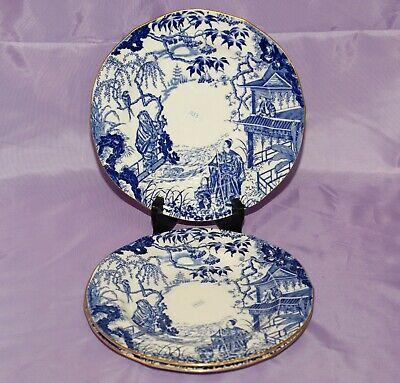 "1933 Royal Crown Derby BLUE MIKADO 9"" Inch Dinner Dessert Salad Plate"