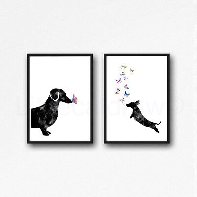 Black Dachshund Sausage Dog Set Of 2 Watercolour Painting PRINT 5x7 Wall Art