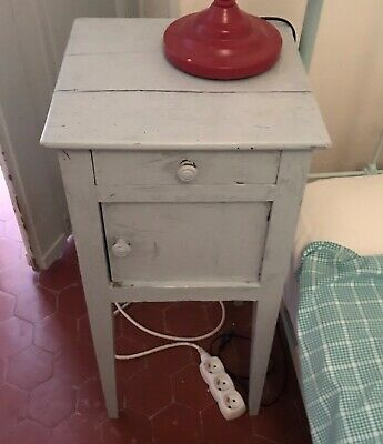 Bedside Table French antique vintage wood painted neat door and draw